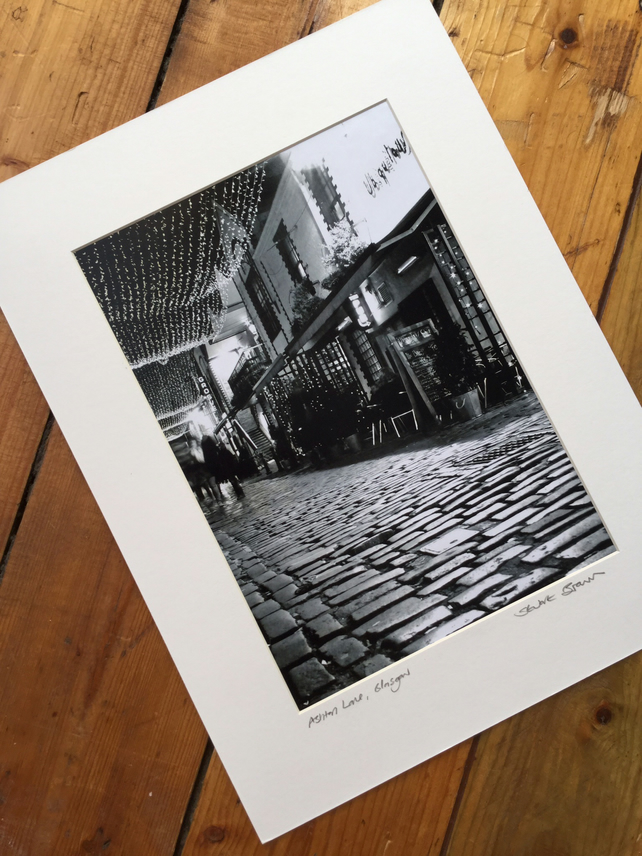 ASHTON LANE, GLASGOW (black and white edition) signed mounted print