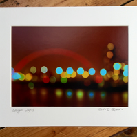 Glasgow Lights Signed Mounted Print FREE DELIVERY