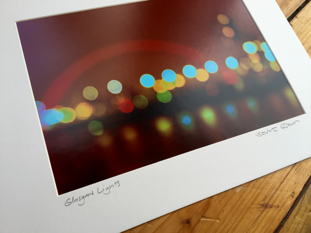 GLASGOW LIGHTS signed mounted print