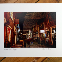 Ashton Lane, Glasgow Signed Mounted Print FREE DELIVERY