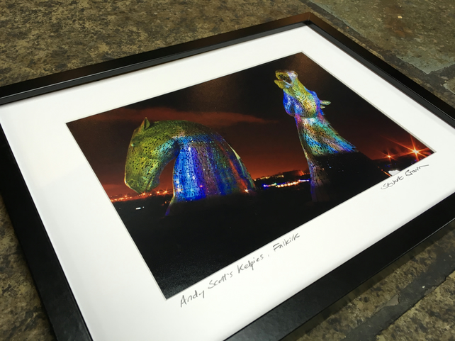 Andy Scott's Kelpies multicolour  SIGNED FRAMED PRINT