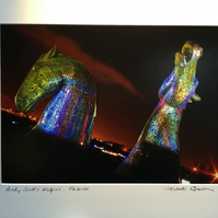 Andy Scott's Kelpies multicolour Signed Mounted Print FREE DELIVERY