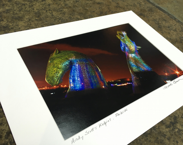 Andy Scott's KELPIES multicolour  signed mounted print