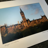 GLASGOW UNIVERSITY  signed mounted print