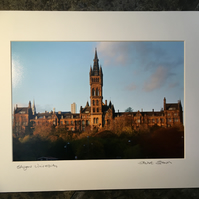 Glasgow University Signed Mounted Print FREE DELIVERY