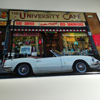 TRIUMPH SPITFIRE, UNIVERSITY CAFE, GLASGOW fridge magnet