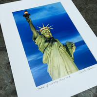 Statue of Liberty, New York Signed Mounted Print FREE DELIVERY