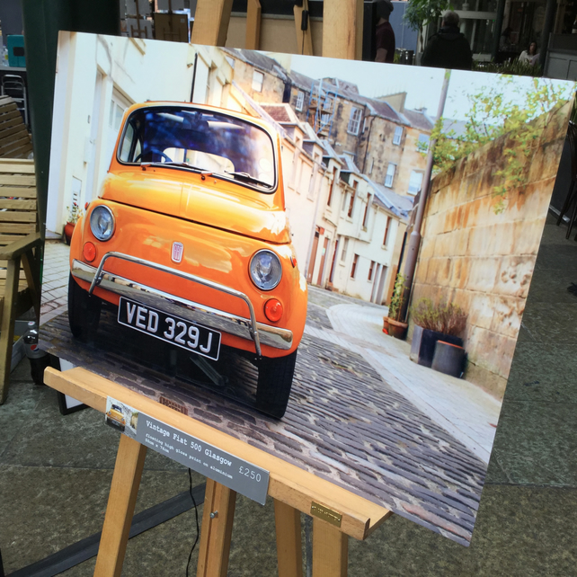 FIAT 500, GLASGOW Premium large high definition print on aluminium