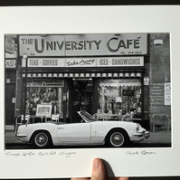 Spitfire, University Cafe, Glasgow (black & white edition) Signed Mounted Print