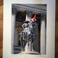 Duke, Horse, Cones, Glasgow mounted print FREE DELIVERY