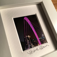 SQUINTY BRIDGE, ,GLASGOW  mini signed and framed print