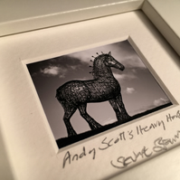 ANDY SCOTT'S HEAVY HORSE, GLASGOW  mini signed and framed print
