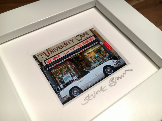 UNIVERSITY CAFE,  GLASGOW mini signed and framed print