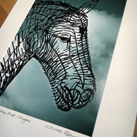 Andy Scott's HEAVY HORSE (HEAD SHOT) signed mounted print