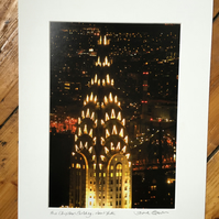 Chrysler Building (night version), New York Signed Mounted Print FREE DELIVERY