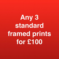 ANY 3 STANDARD FRAMED PRINTS FOR ONE HUNDRED POUNDS