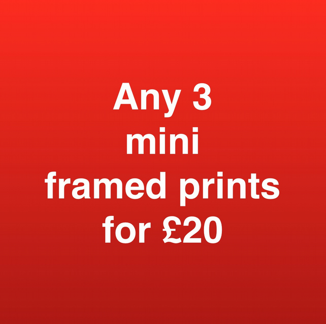 ANY 3 WEE WEEGIES (mini framed prints) FOR TWENTY POUNDS