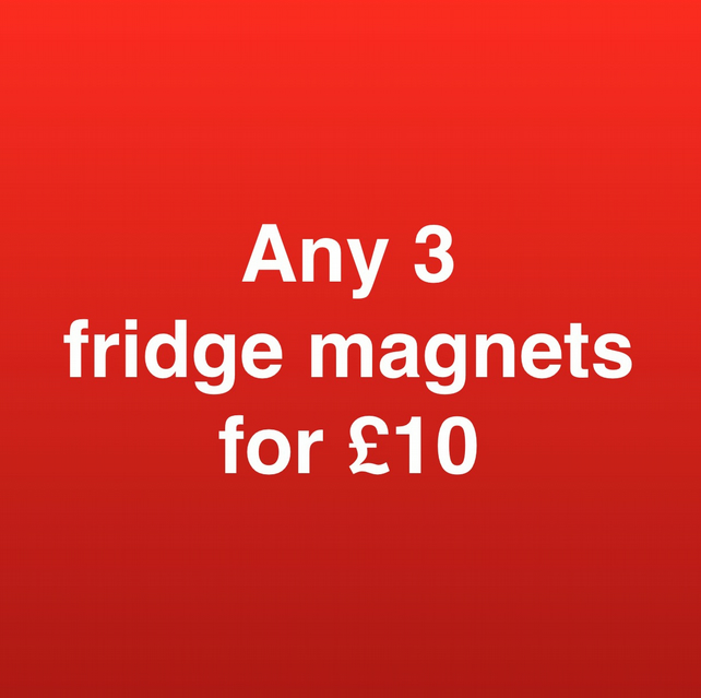 ANY 3 fridge magnets for ten pounds