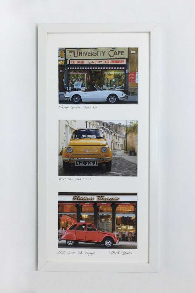 Classic cars around Glasgow collection SIGNED FRAMED PRINT