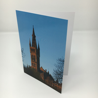 Glasgow University Tower,  blank greeting card