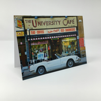 University Cafe, Triumph Spitfire, Glasgow BLANK GREETING CARD