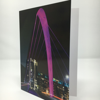 SQUINTY BRIDGE, GLASGOW blank greeting card