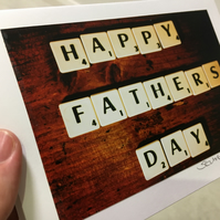 Happy Father's Day blank scrabble greeting card