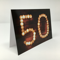 'Fifty' birthday blank greeting card