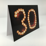 'Thirty' birthday blank greeting card
