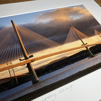 Queensferry Crossing Signed Mounted Print FREE DELIVERY