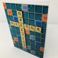 GLESGA GREETINS scrabble blank greeting card