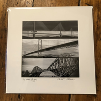 The Forth Bridges SIGNED MOUNTED PRINT