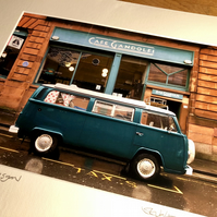 Classic VW Camper, Glasgow MOUNTED PRINT