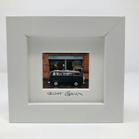 VW CAMPER VAN at  CAFE GANDOLFI ,GLASGOW mini signed and framed print