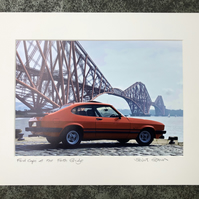 Ford Capri at the Forth Bridge, Edinburgh, Signed Mounted Print FREE DELIVERY
