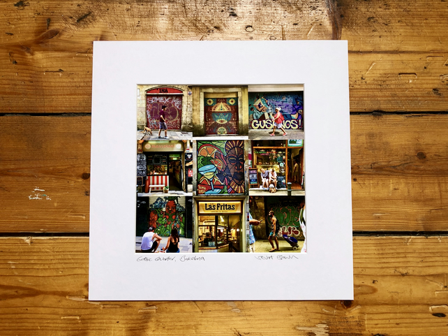 'Gothic Quarter, Barcelona' collage, signed square mounted print 30 x 30cm