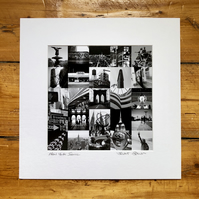 'New York iconic' collage, signed square mounted print 30 x 30cm FREE DELIVERY