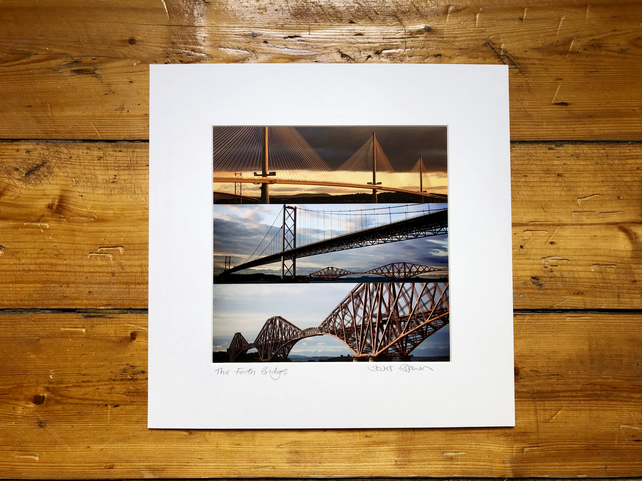 'The Forth Bridges' Signed Mounted square Print 30 x 30cm FREE DELIVERY