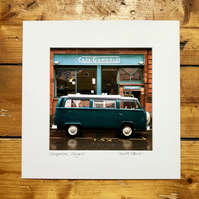 'Camper van at Cafe Gandolfi'  Glasgow Signed square Mounted Print 30 x 30cm
