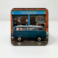 'Camper van at Cafe Gandolfi' Glasgow high gloss coaster