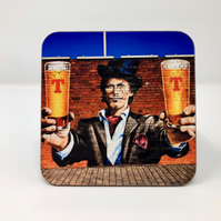 'Tennent's Pints guy' Glasgow high gloss coaster
