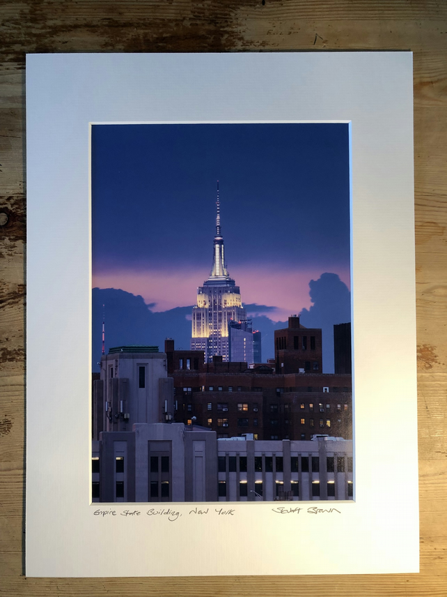 Empire State Building, New York Signed Mounted Print FREE DELIVERY