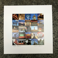 'Glasgow Iconic' COLOUR signed square mounted print 30 x 30cm FREE DELIVERY