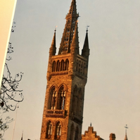 Glasgow University Tower, Signed Mounted Print FREE DELIVERY