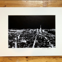 'Metropolis' New York signed mounted print FREE DELIVERY