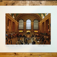 'Grand Central' New York signed mounted print FREE DELIVERY