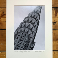 'Chrysler Building' New York signed mounted print FREE DELIVER