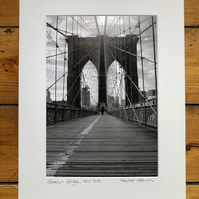 'Brooklyn Bridge' New York signed mounted print FREE DELIVER