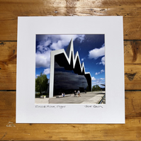 'Riverside Museum' signed square mounted print 30 x 30cm FREE DELIVERY