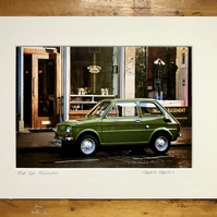 Classic Fiat 126, Finnieston, Glasgow Signed Mounted Print FREE DELIVERY